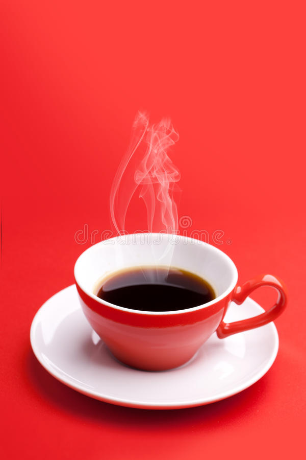 Red Cup With Hot Coffee Royalty Free Stock Photos