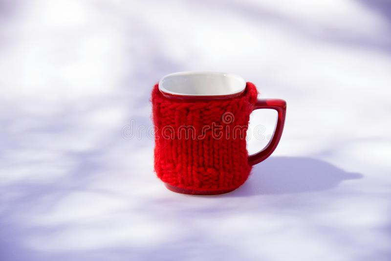 Red cup for morning coffee. Background royalty free stock image