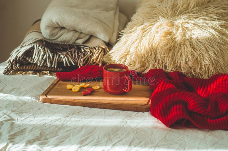 Red cup of tea with kumquat and two hearts cookies on a white bed. Cozy Home. Valentines day concept royalty free stock image