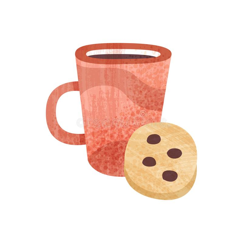 Red cup of tea and sweet cookie. Mug of fresh coffee. Tasty snack and beverage for breakfast. Flat vector icon with. Red cup of tea and sweet cookie with royalty free illustration