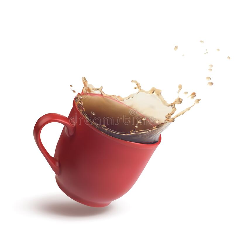 Free Red Cup With A Splash Of Tea Or Coffee In The Dynamics. 3d Realistic Vector Royalty Free Stock Image - 182951186