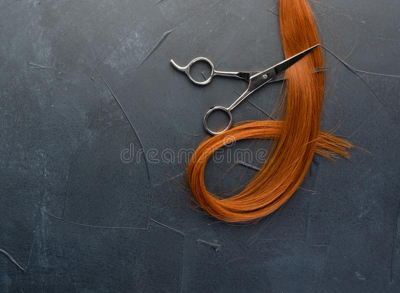Red curl of natural hair and scissors royalty free stock images