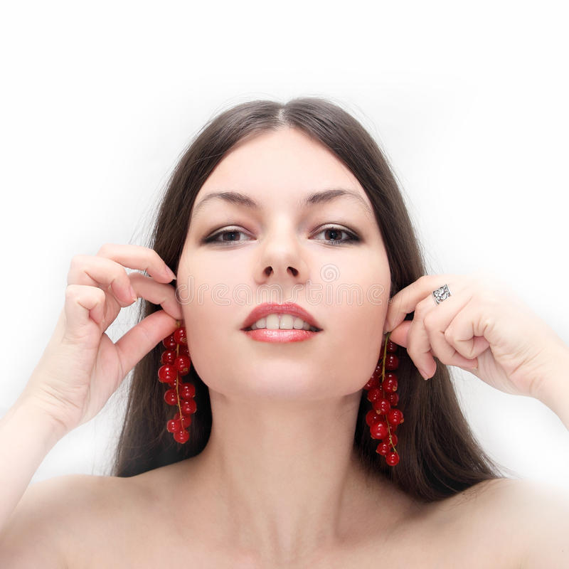 Download Red currant as ear rings stock photo. Image of health - 13680752