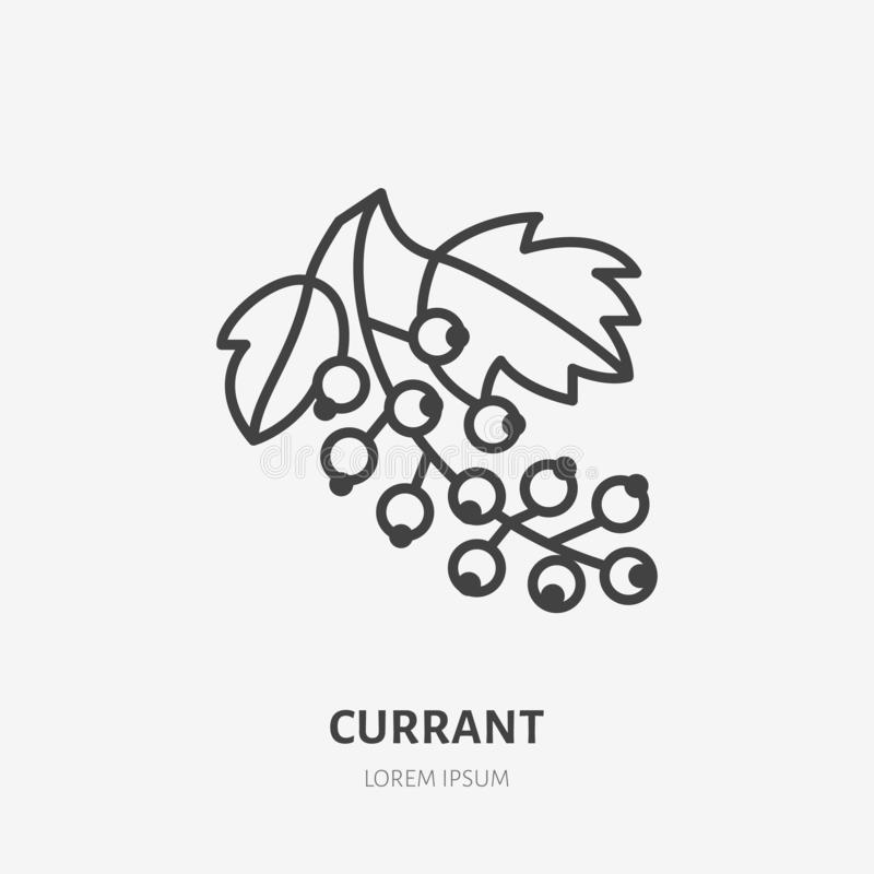 Red currant flat line icon, forest berry sign, healthy food logo. Illustration of black currants for natural food store vector illustration