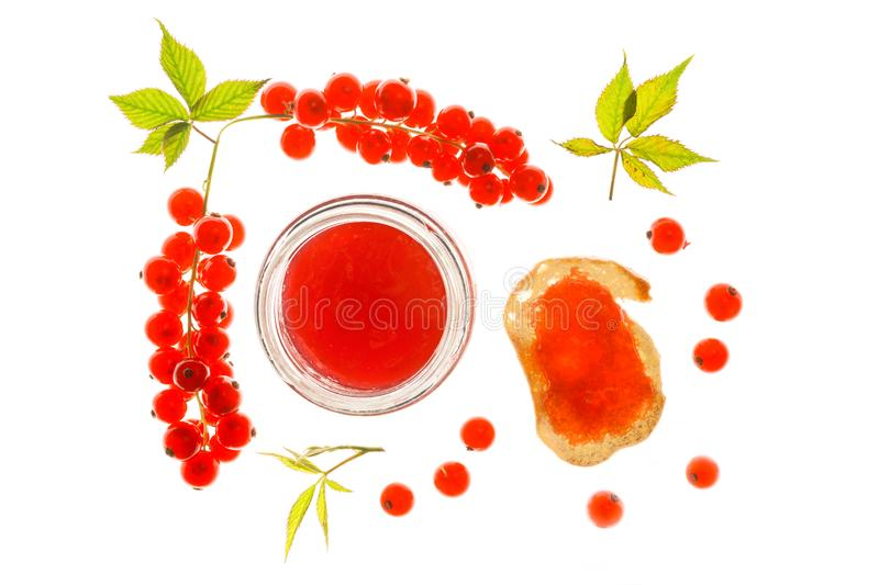 Red Currant Jelly With Berries And Toast stock photography