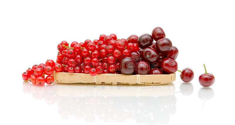 Download Red Currant And Ripe Cherry On A White Background Stock Image - Image: 25483601