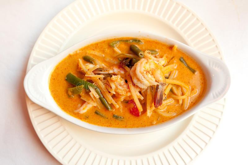Red curry. Dish with chicken in Thai restaurant stock photography