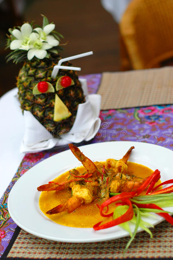 Red curry prawn stock image