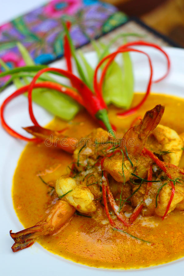 Red curry prawn royalty free stock photo