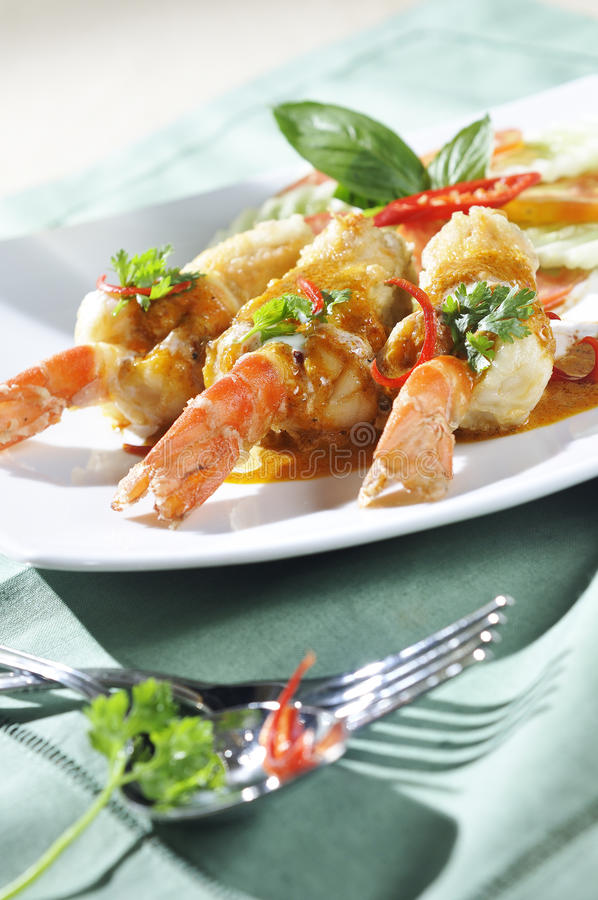 Red curry shrimp fried. Thaifood stock photography