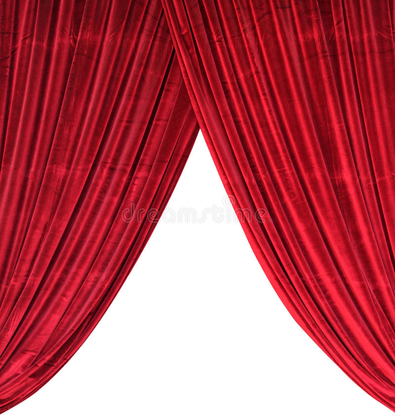 Red Curtain. Isolated in white royalty free stock photo