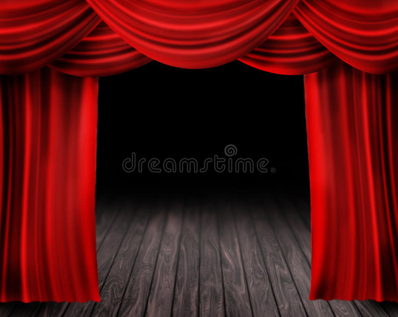 Red Curtain. Old Theater Stage with red Curtain stock illustration