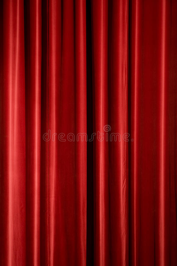 Red Curtain. Red stage curtain, background texture with copyspace stock image
