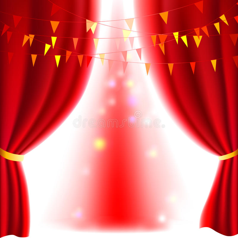 Red curtain. Movie or theatre curtain with a bright spotlight stock illustration