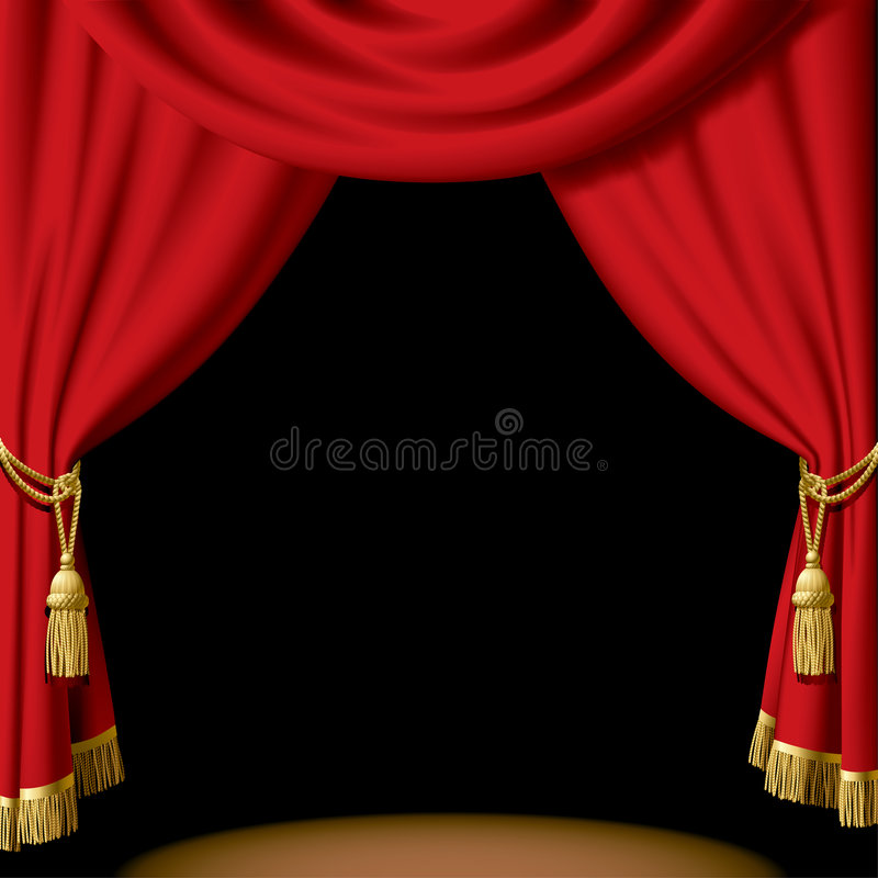 Red curtain. Isolated raster version of vector red curtain on black (contain the Clipping Path) There is in addition a vector format (EPS 8