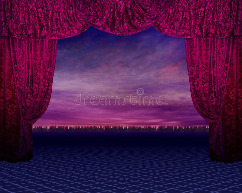 Red curtain with background stock photography