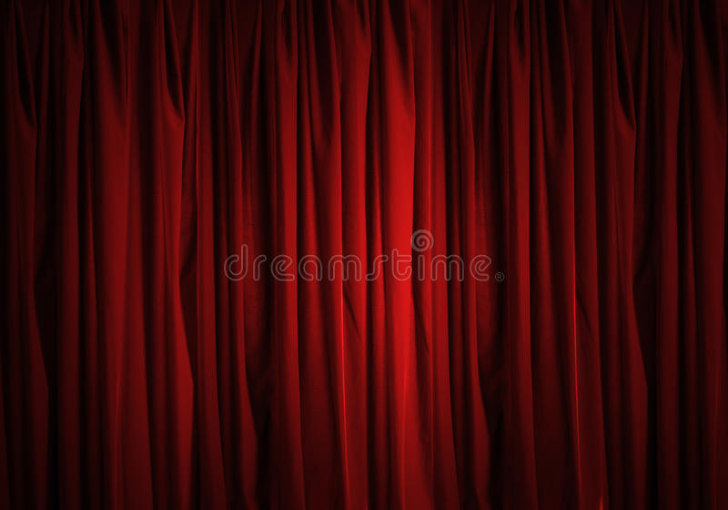 Red curtain. Background image of red velvet stage curtain stock images