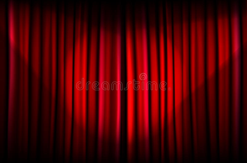 Red curtain with beams of light. Background from red curtain with beams of light - vector illustration royalty free illustration