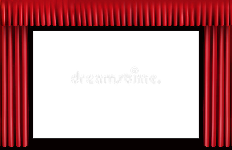Download Red Curtain. Blank Cinema Screen Stock Photo - Image: 13534640