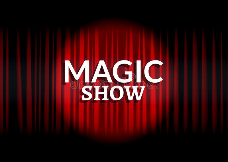Red curtain with circle light. Magic show concept poster template design royalty free illustration