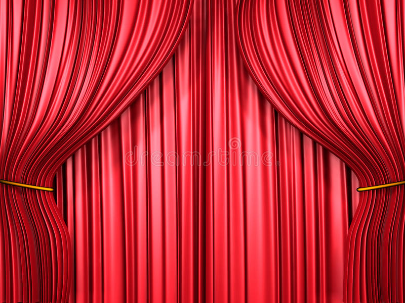 Red curtain composition vector illustration