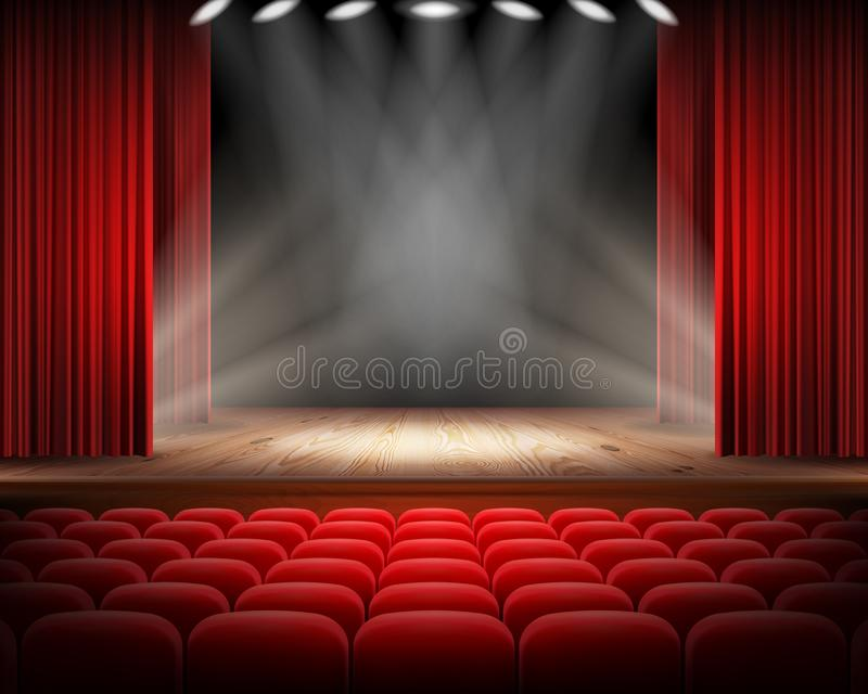 Red curtain and empty theatrical scene royalty free stock photo