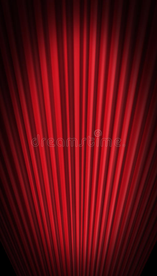 Red curtain in forced perspective stock illustration