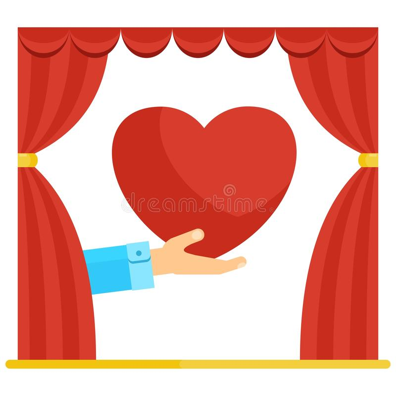 Red curtain heart royalty free illustration