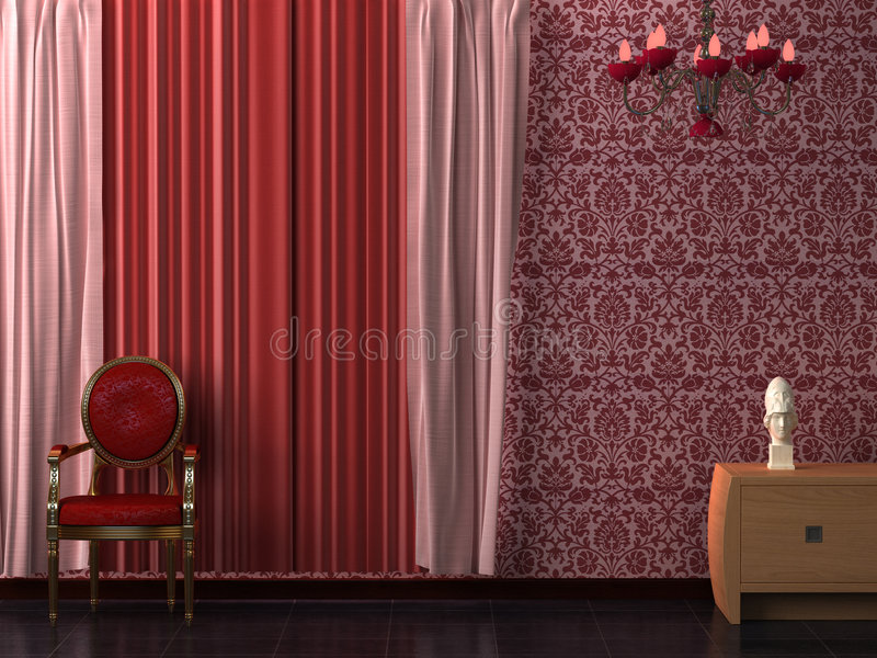 Red Curtain Interior. royalty free stock photo