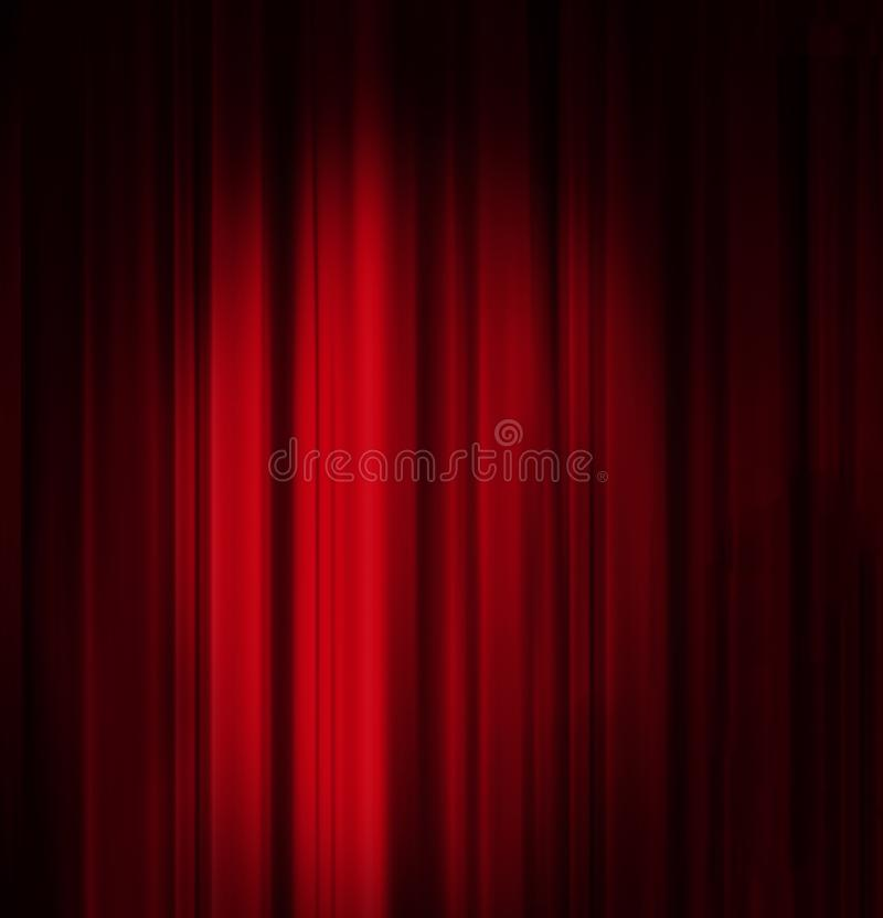 Red Curtain with spotlight background. With space for copy stock image