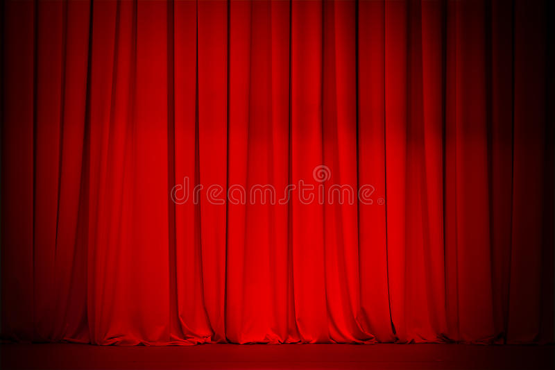 Red curtain stage background. Red curtain theatre stage background stock photography