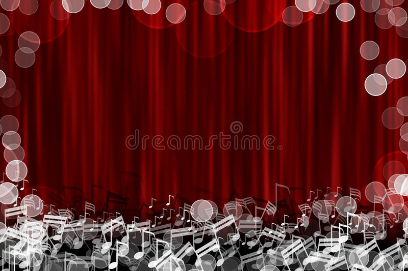 Red curtain stage background with glow note sign royalty free illustration
