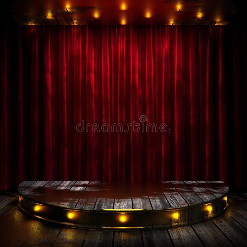 Red curtain stage with lights. 3D rendered stock photo