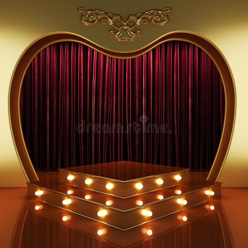 Red curtain stage with lights. 3D rendered stock image