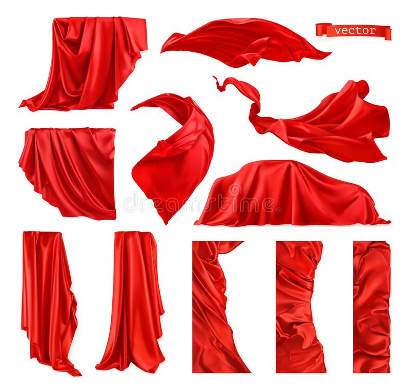 Free Red Curtain Vectorized Image. Drapery Fabric 3d Realistic Vector Set Stock Photo - 159188950
