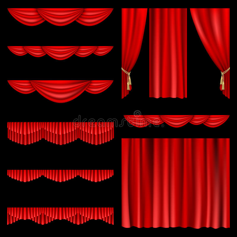 Download Red curtains stock vector. Image of element, fringe, objects - 21602925