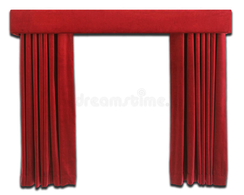 Red Curtains. On white background stock photos