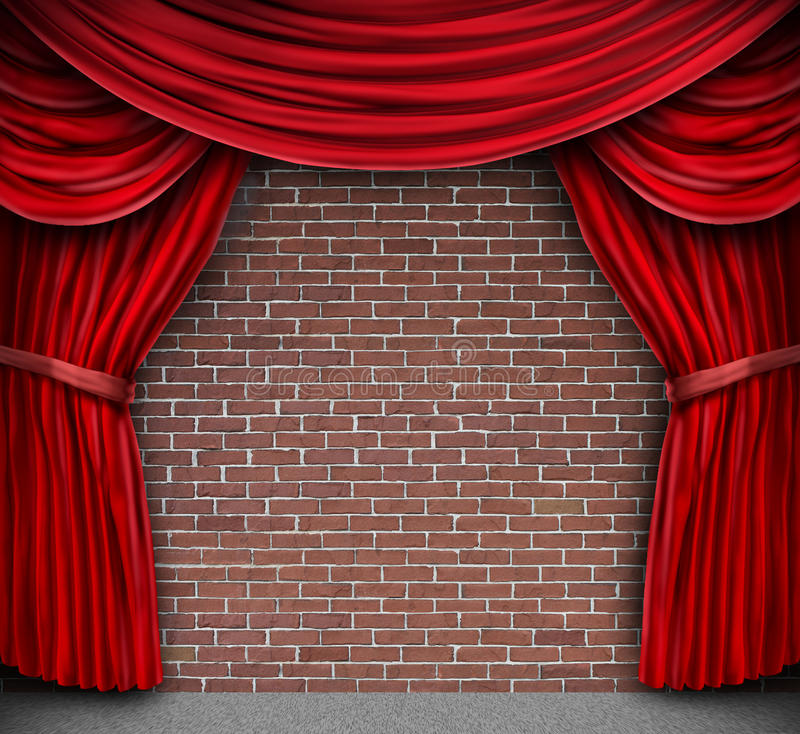 Download Red Curtains On A Brick Wall Stock Illustration - Illustration: 26162148