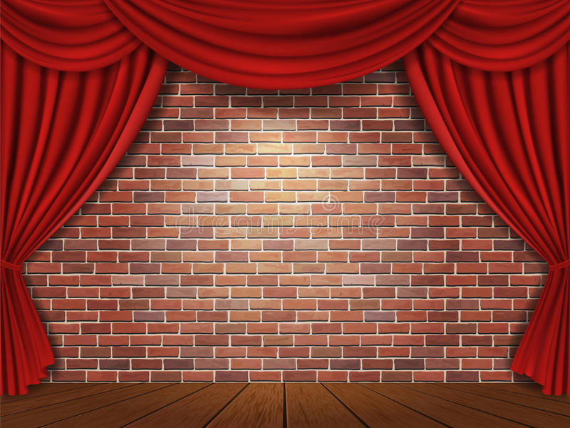 Red curtains on brick wall background stock photos