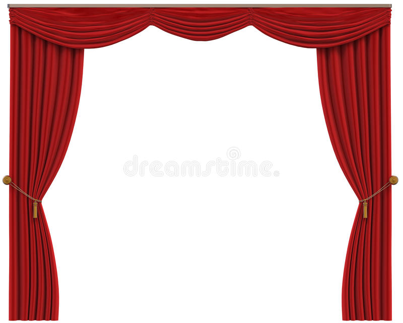 Red Curtains Isolated on White Background royalty free illustration