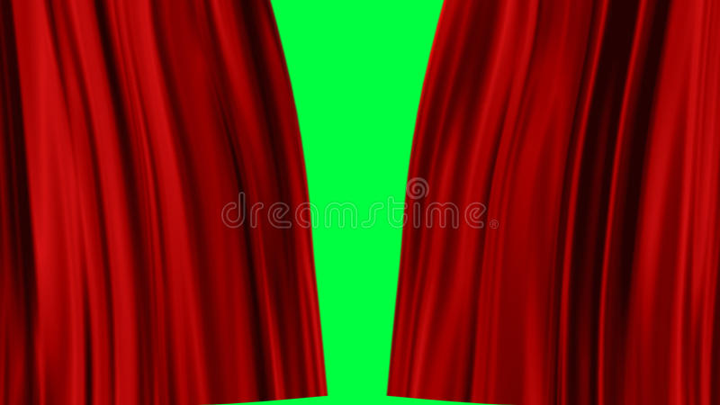 Red Curtains Open Alpha Channel Stock Footage