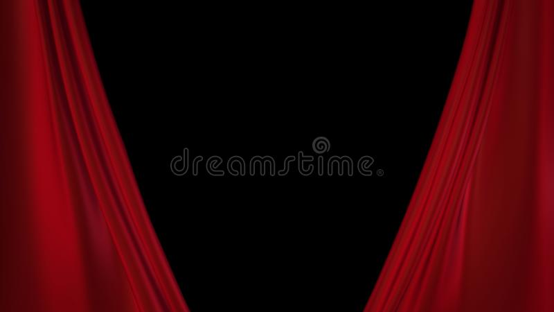 Red curtains opening