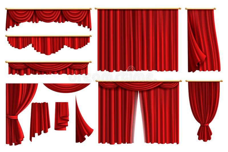 Red curtains. Set realistic luxury curtain cornice decor domestic fabric interior drapery textile lambrequin, vector royalty free illustration
