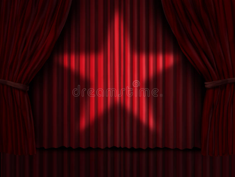 Red Curtains Star. Red curtains with a star light shinning on the velvet drapes on a stage as a symbol of cinema and theatre acting performance entertainment or royalty free illustration