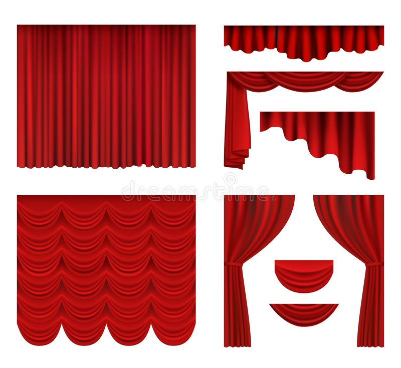 Red curtains. Theater fabric silk decoration for movie cinema or opera hall luxury curtains vector realistic royalty free illustration
