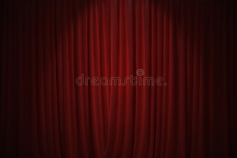 Red curtains in theatre background. 3D rendered illustration.  stock illustration