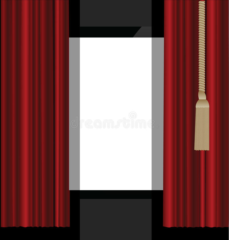 Download Red Curtains To Theater Stage Stock Vector - Image: 28109091
