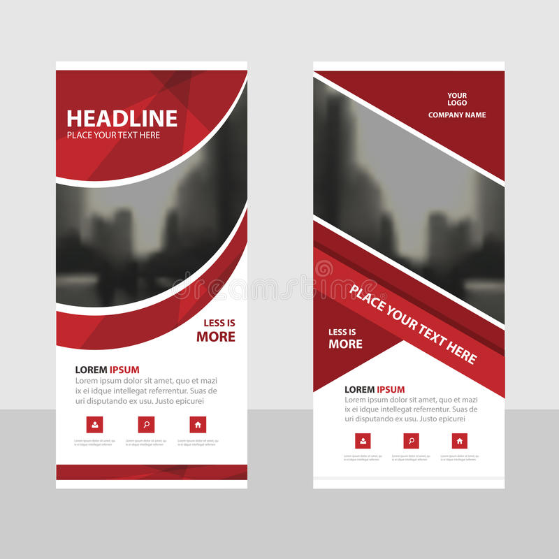 Red curve Business Roll Up Banner flat design template ,Abstract Geometric banner template Vector illustration set, abstract. Presentation brochure flyer royalty free illustration
