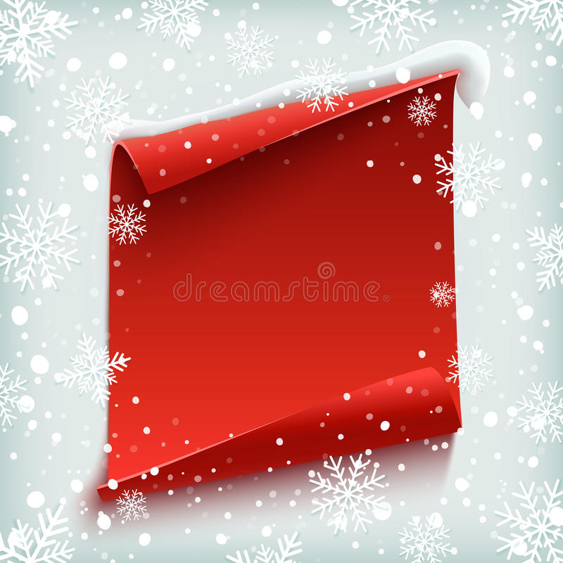 Red, curved, paper banner on winter background. Blank Christmas background, greeting card template. Red, curved, paper banner on winter background with snow and stock illustration