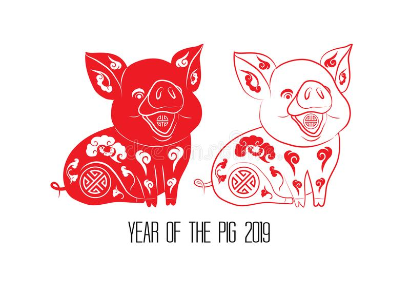 Red cut paper pig zodiac isolate on white background. Year of the pig royalty free illustration